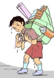 Studenti sempre piu' appesantiti da zaini pesanti,anche se c'è un limite di peso.