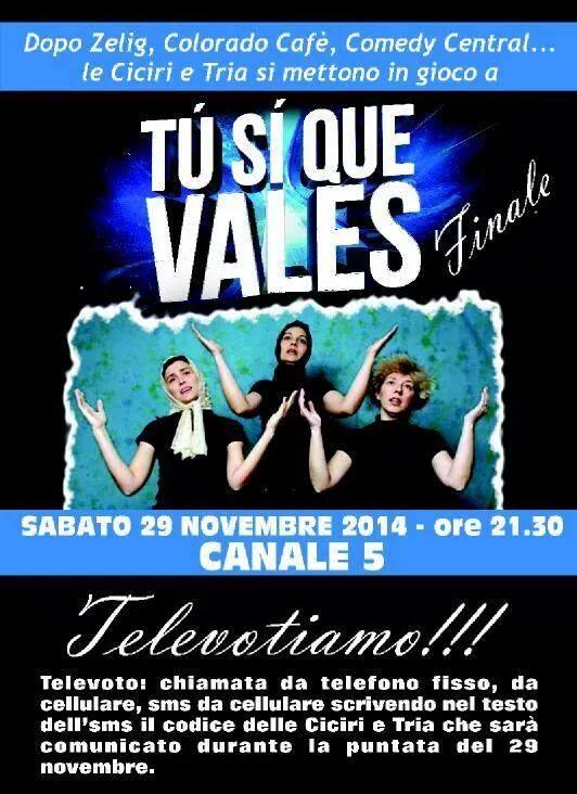 Stasera in finalissima il trio di Martano Ciciri e Tria,nella serata che chiude il programma di canale 5 ,TU SI QUE VALES.