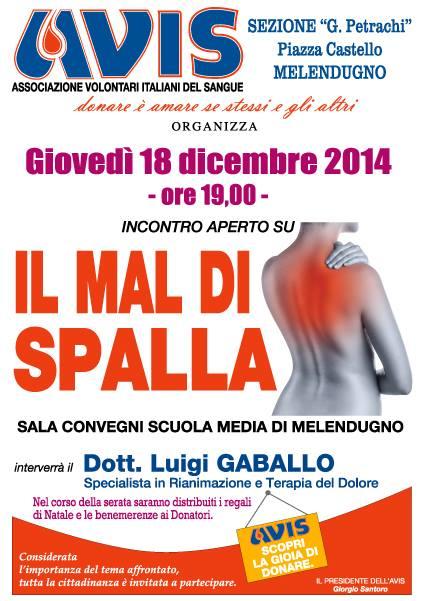 Appuntamento dell'AVIS di Melendugno,questa sera alle 19:00 per parlare di mal di schiena.