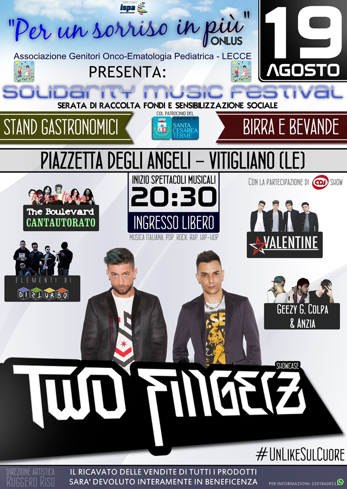 I Two Fingerz in Salento per l'oncologia pediatrica di Lecce