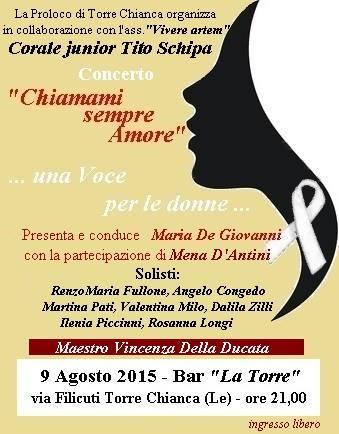 Chiamami sempre Amore, una voce per le donne, stasera a Torre Chianca.