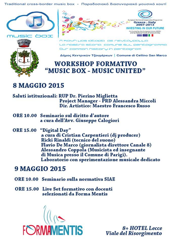 "Workshop formativo ""Music box- Music united"""