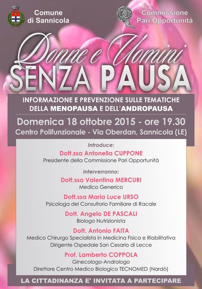 Donne e uomini senza pausa, stasera a Sannicola in convegno per celebrare la giornata mondiale della menopausa