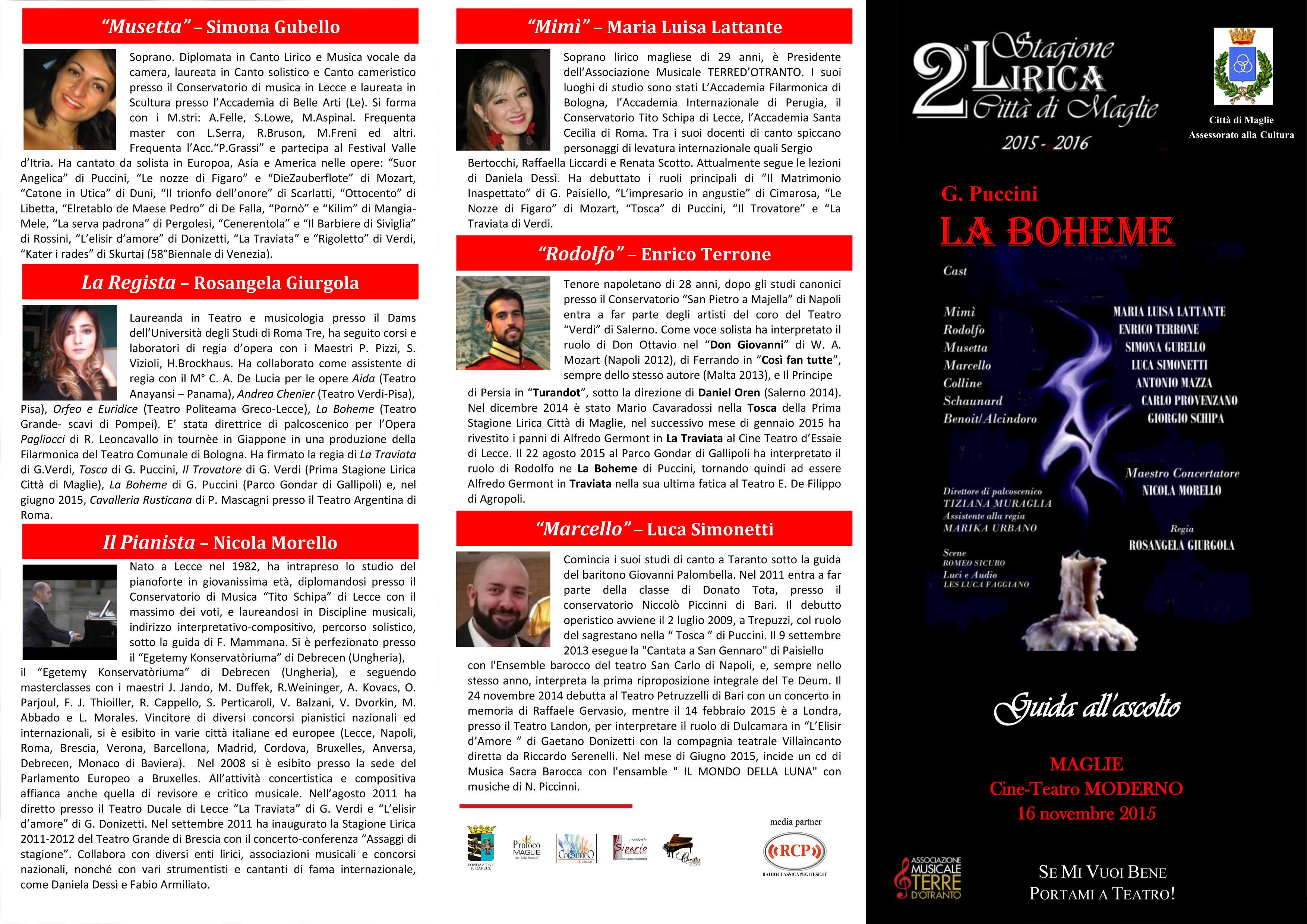 Al via la Seconda Stagione Lirica Città di Maglie  Puccini, Donizetti e Leoncavallo in scena il 16 novembre, 14 dicembre e 11 gennaio