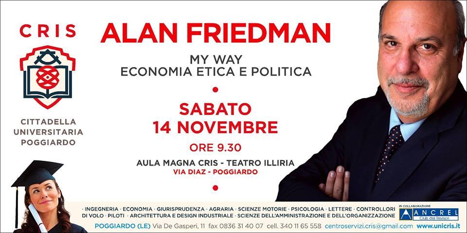 Sabato 14 novembre la Cittadella Universitaria di Poggiardo ospita il giornalista Alan Friedman