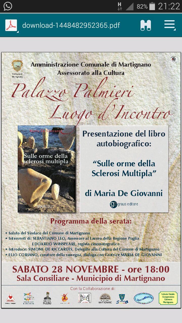 Domani a Martignano l'amministrazione comunale presenta il libro di Maria De Giovanni