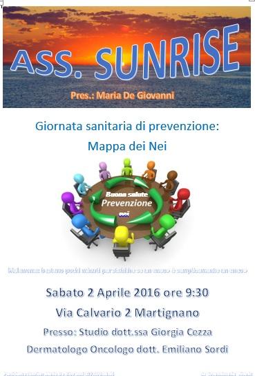 Sunrise organizza giornata della prevenzione alla salute a Martignano il 2 aprile ore 9.30