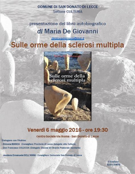 Sulle orme della sclerosi multipla, il libro, fa tappa a San Donato di Lecce