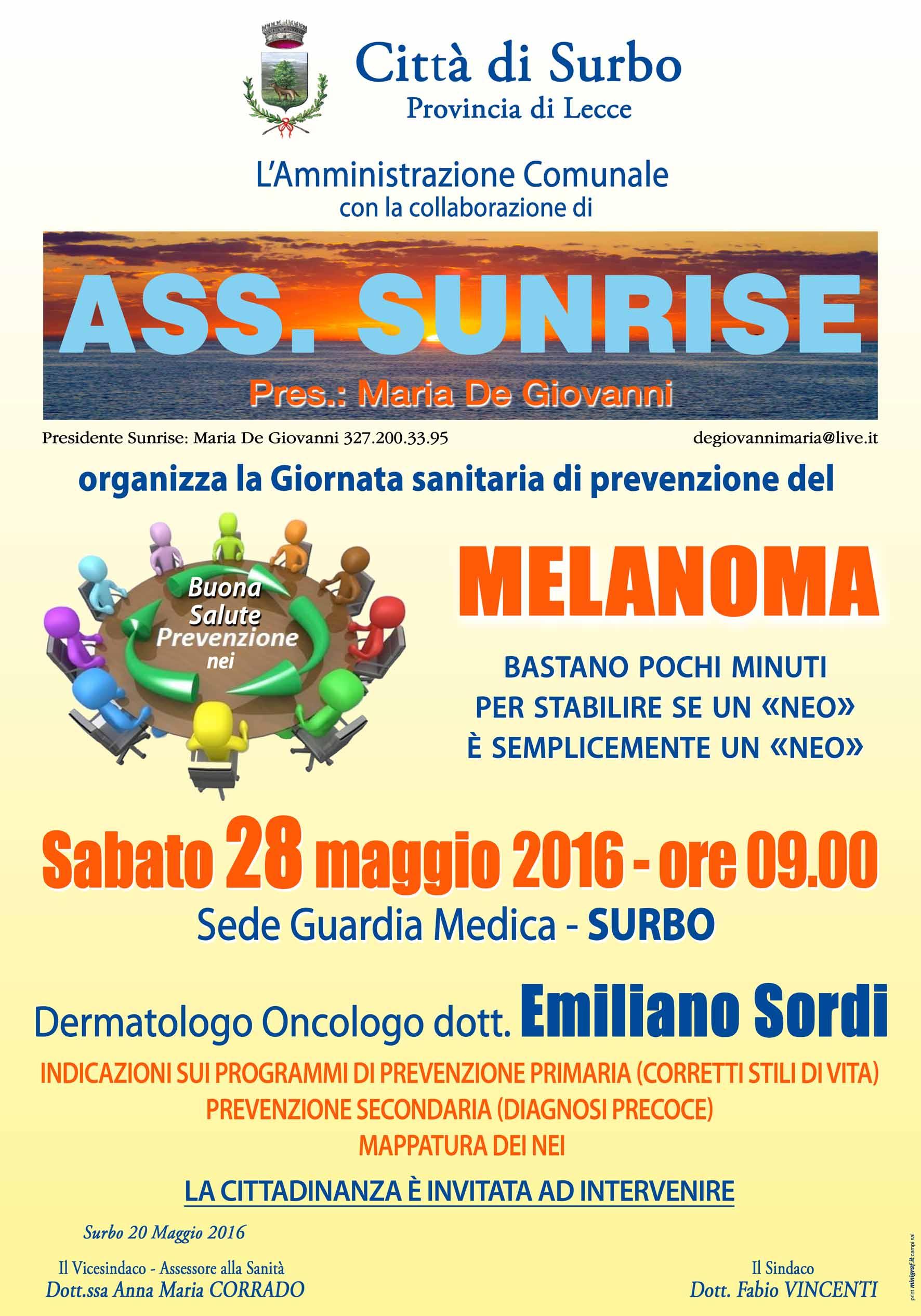 Tornano gli appuntamenti di prevenzione sanitaria Sunrise, il 28 maggio a Surbo