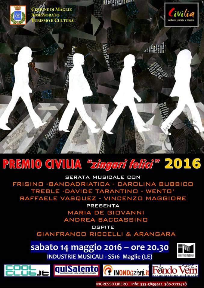 Premio Civilia Zingari felici, stasera alle industrie letterarie a Maglie