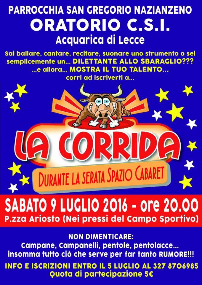Dilettanti allo sbaraglio , la CSI Acquarica di Lecce presenta la Corrida