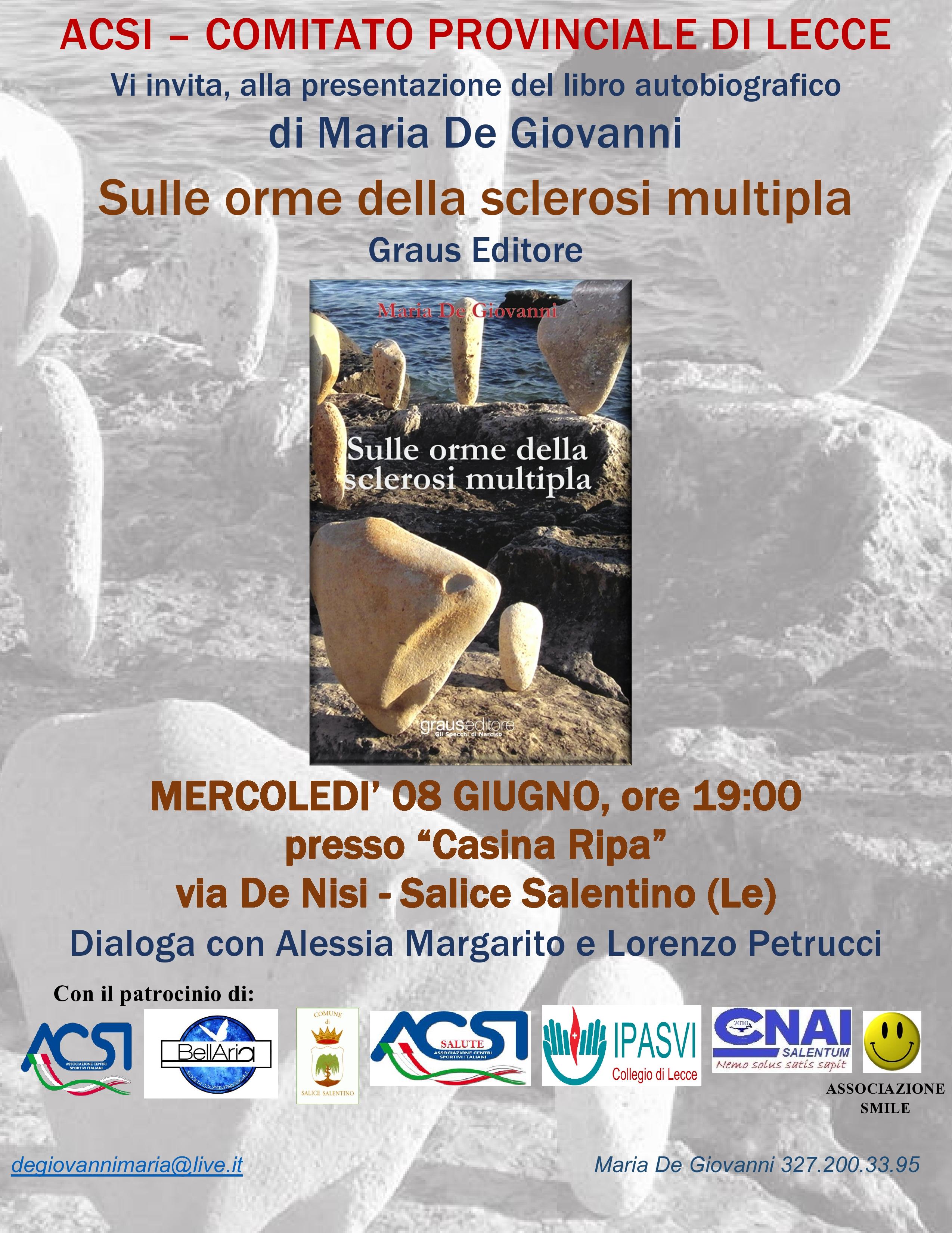 Domani a Salice Salentino il libro sulle orme della sclerosi multipla