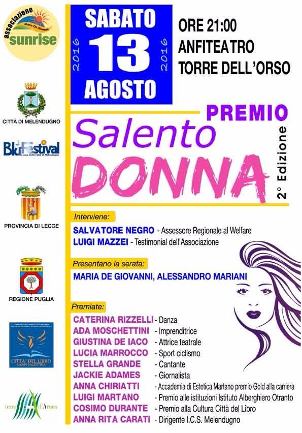 L'ass. Sunrise di Borgagne presenta sabato 13 a Torre Dell'Orso Premio SalentoDonna