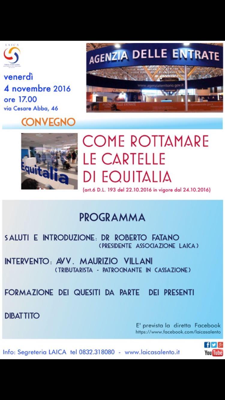Domani presso LAICA Convegno a Lecce sulla sanatoria Equitalia