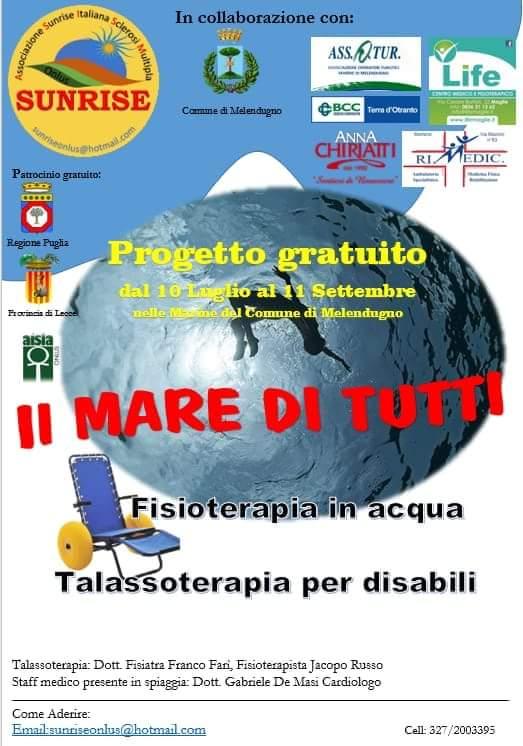 L'associazione Sunrise Sclerosi Multipla organizza progetto di talassoterapia a mare
