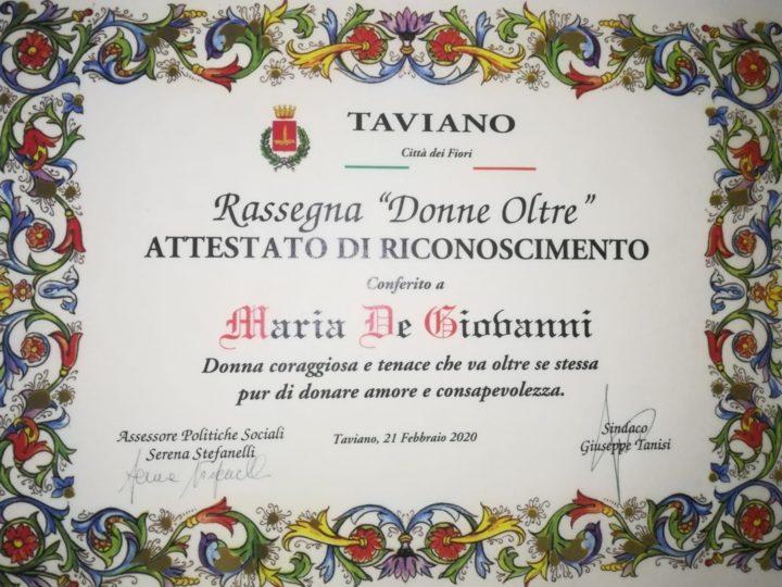 Maria De Giovanni ancora un Riconoscimento arriva da Taviano alla donna coraggio